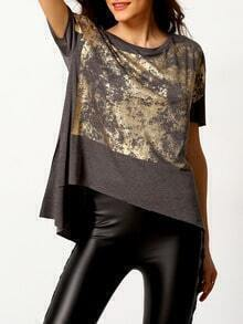 Grey Round Neck Gold Print Dip Hem T-Shirt