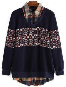 Navy Contrast Collar Geometric Print Sweatshirt