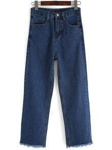 Navy Pockets Wide Leg Denim Pant