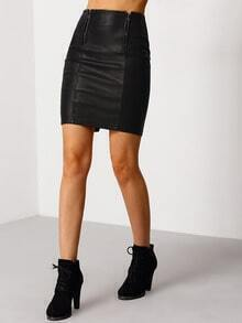 Black Zipper Split PU Skirt