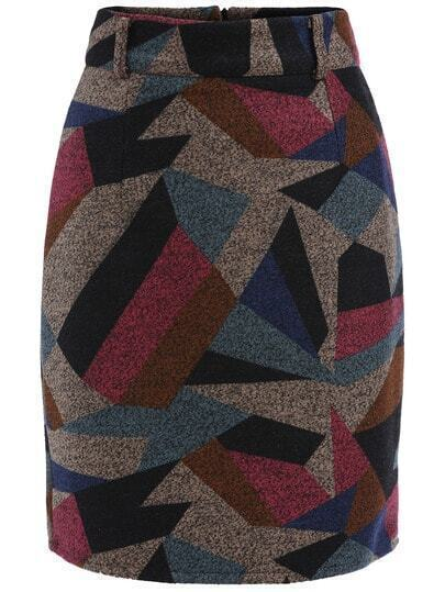 Colour Geometric Print Slim Skirt