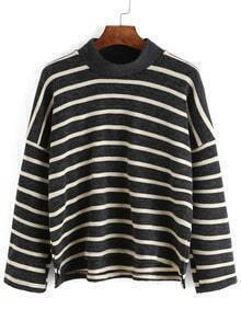 Black White Mock Neck Striped Loose Top