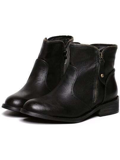 Black Round Toe Velvet Ankle Boots