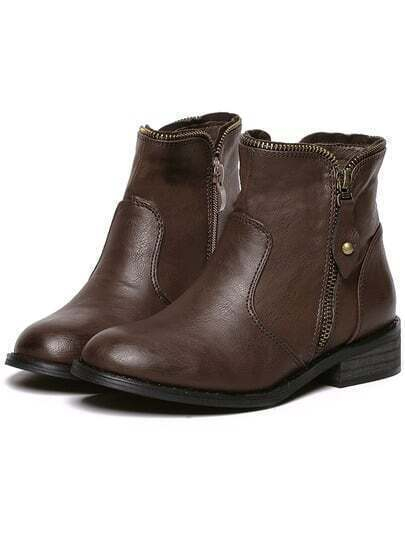 Brown Side Zipper Chunky Heel Ankle Boots