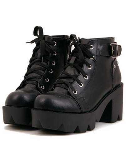Black Chunky Heel Lace Up Ankle Boots