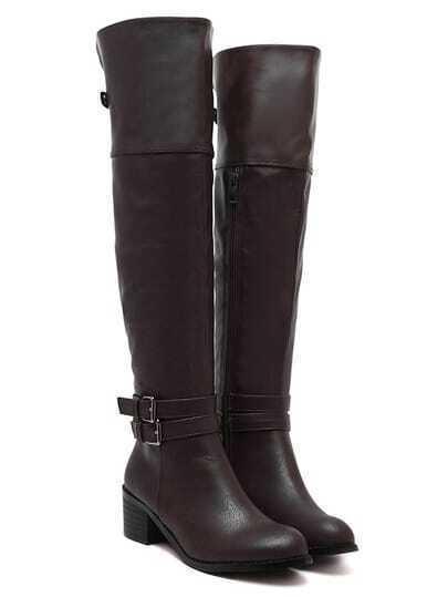 Brown Buckles Velvet Over The Knee Boots