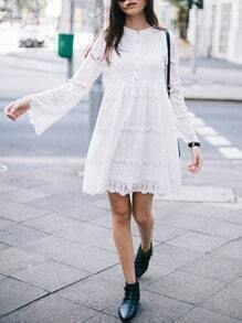 White Lace Embroidered Bell Sleeve Dress