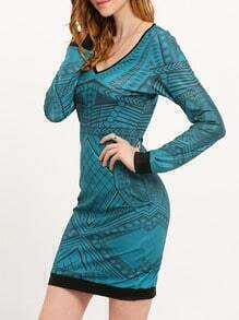 Dark Green Scoop Neck Geometric Print Bodycon Dress