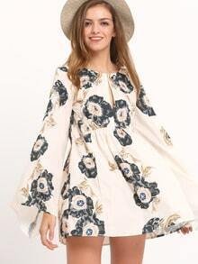 Multicolour Floral Keyhole Bell Sleeve Dress