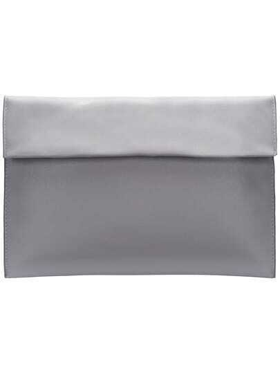 Grey Magnetic PU Clutch Bag
