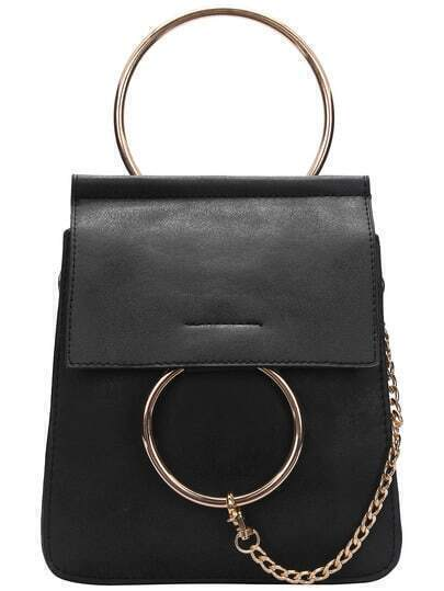 Black Metal Chain PU Shoulder Bag