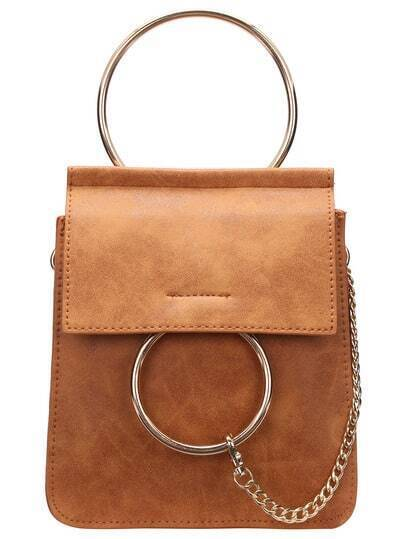 Brown Metal Chain PU Shoulder Bag