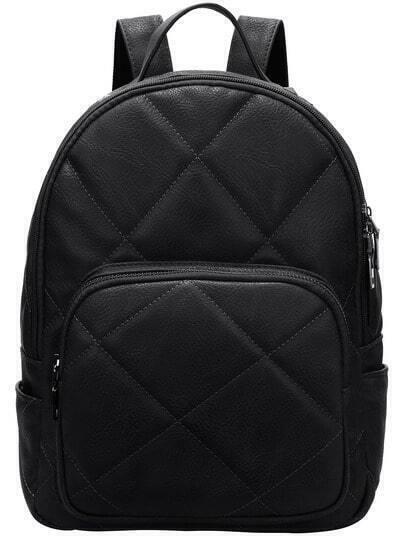 Black Diamond Zipper PU Backpacks