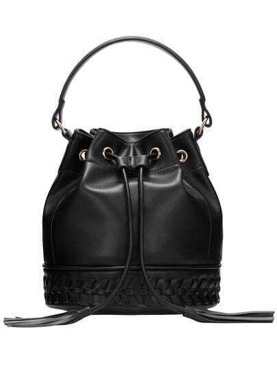 Black Drawstring Weave PU Bucket Bag