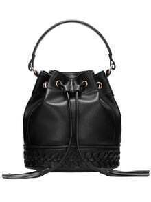Black Drawstring Weave PU Bucket Bag