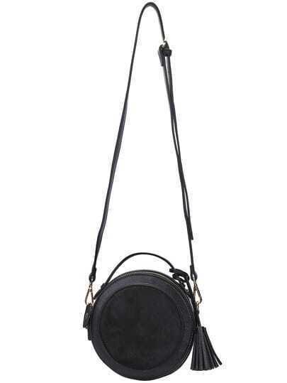 Black Tassel PU Satchel Bag