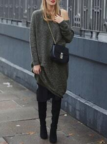 Grey Convertible Plain Sweater Dress