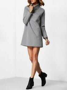 Grey High Neck Plain Sweatshirt Dress