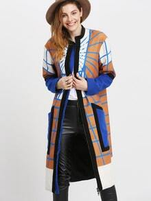 Brown Blue Color Block Check Coat