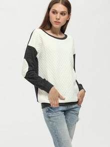 Grey White Color Block Elbow Patch Sweatshirt