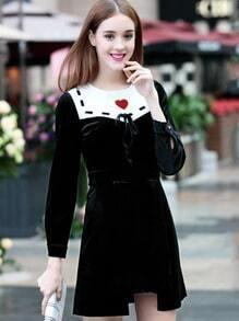 Black Round Neck Long Sleeve Embroidered Tie Dress