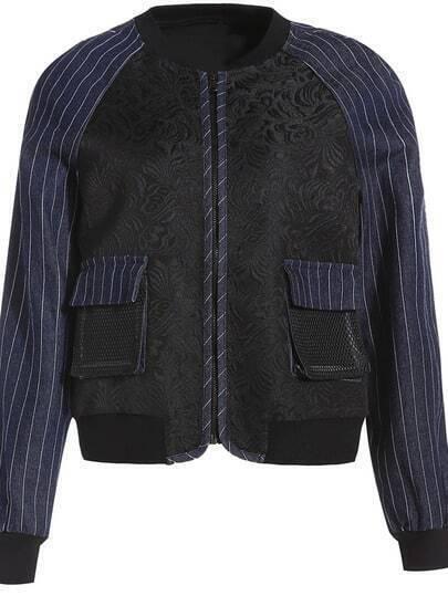 Black Round Neck Long Sleeve Jacquard Pockets Coat
