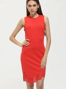 Orange Sleeveless Eyelet Asymmetric Hem Sheath Dress