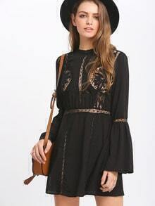 Black Lace Eyelet Blouson Sleeve Dress