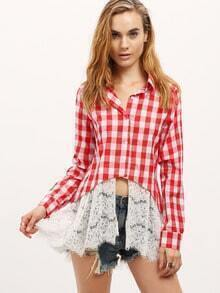 Red White Plaid Lace Hem Blouse