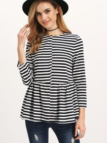 Nautical Striped Flounce Hem Coat