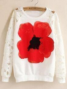 White Round Neck Floral Hollow Lace Sweatshirt