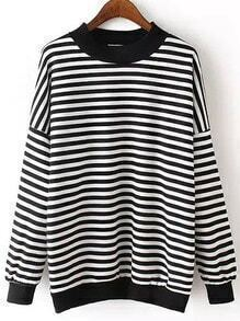 Black White Round Neck Striped Sweatshirt