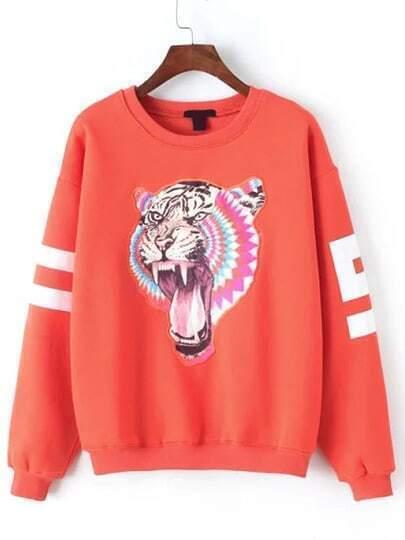 Orange Round Neck Tiger Print Sweatshirt