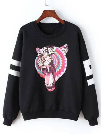 Black Round Neck Tiger Print Sweatshirt