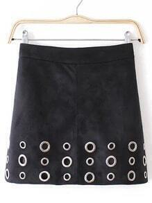 Black Slim Circle Hollow Skirt