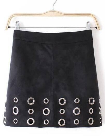Black Slim Circle Hollow Skirt