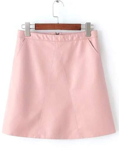 Pink Zipper A Line PU Skirt