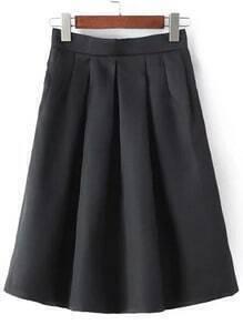 Black Midi Flare Skirt