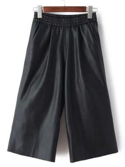 Black Elastic Waist Crop Pant