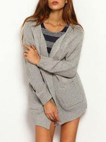 Grey Long Sleeve Pockets Sweater Coat
