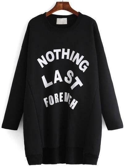 Black Round Neck Letters Print Dip Hem Sweatshirt