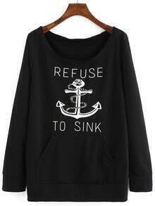 Black Round Neck Anchors Print Sweatshirt