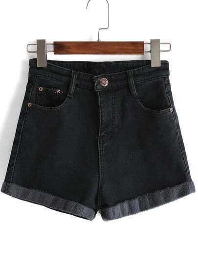 Black Pockets Buttons Denim Shorts