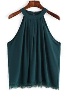 Dark Green Lace Hem Chiffon Cami Top