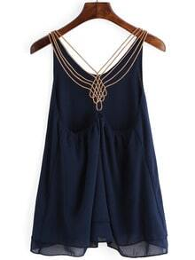 Navy Chain Strap Chiffon Cami Top