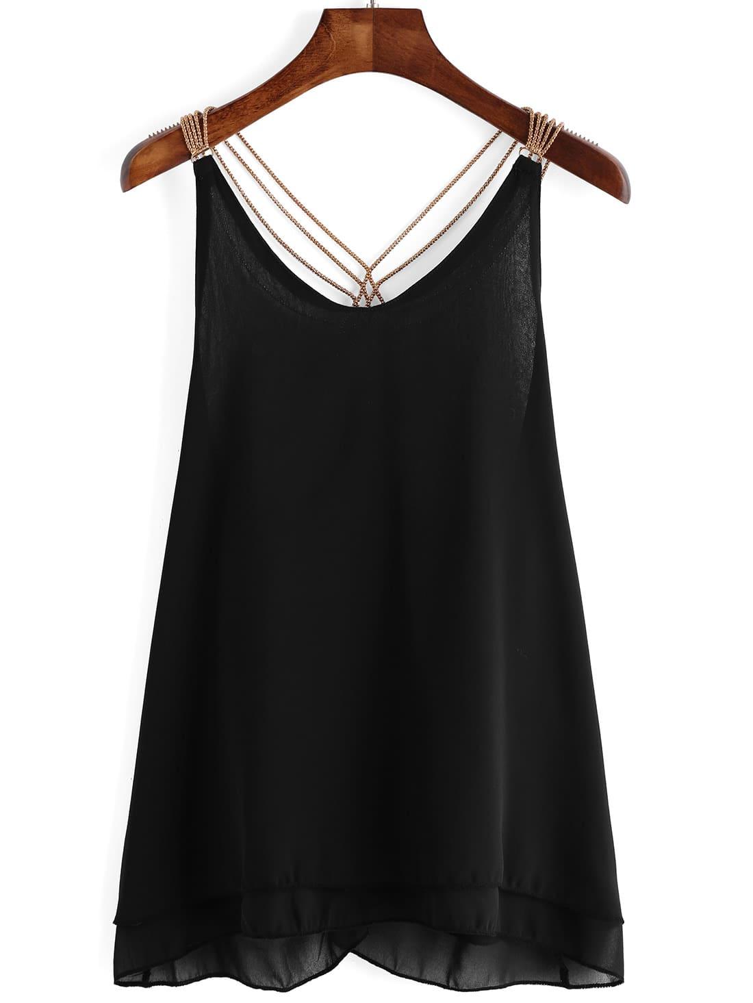 Black Chain Strap Chiffon Cami Top vest151209005