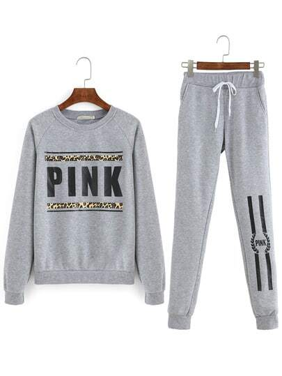Top stampato lettera & pantaloni
