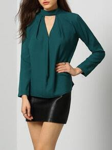 Dark Green Mock Neck Cut Out Front Blouse