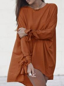 Brown Knotted Sleeve High Low Dress