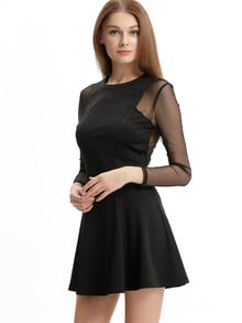Black Pleated Dress With Mesh Sleeve